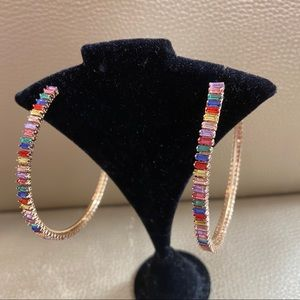 Gold Rainbow Color Oversize Large Hoops